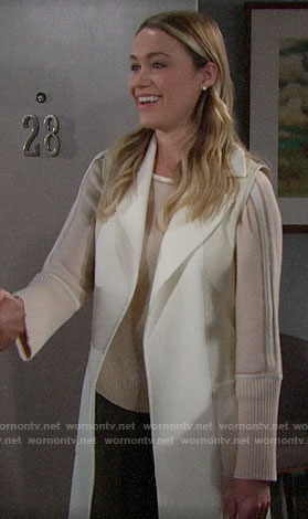 Florence's beige striped sleeve sweater and vest on The Bold and the Beautiful