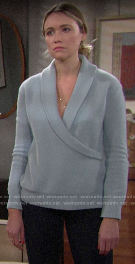 Florence's blue wrap sweater on The Bold and the Beautiful