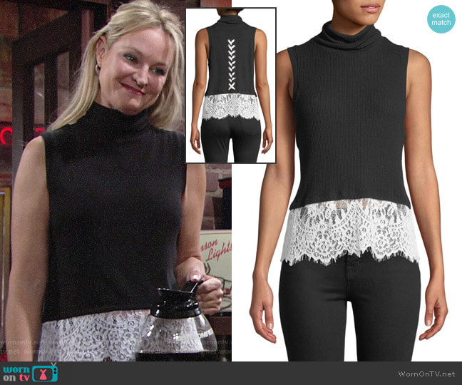 Generation Love Delavigne Lace-Up Sleeveless Turtleneck Top worn by Sharon Collins (Sharon Case) on The Young & the Restless