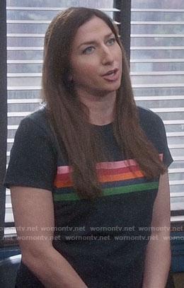 Gina's rainbow stripe tee on Brooklyn Nine-Nine