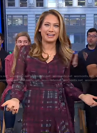 Ginger's purple plaid wrap dress on Good Morning America