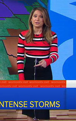 Ginger's red striped sweater and zip front skirt on Good Morning America
