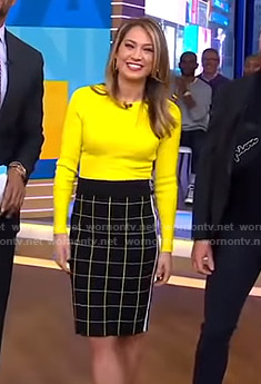 Ginger's yellow sweater and grid check skirt on Good Morning America