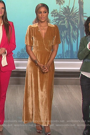 Eve's gold wrap maxi dress on The Talk