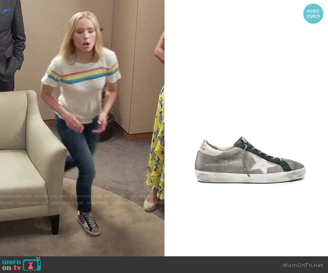 Golden Goose Superstar Sneakers worn by Eleanor Shellstrop (Kristen Bell) on The Good Place
