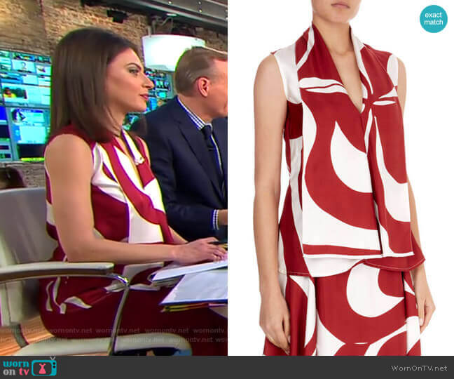 Silk Graphic Floral V-Neck Top by Victoria Beckham worn by Bianna Golodryga (Bianna Golodryga) on CBS This Morning