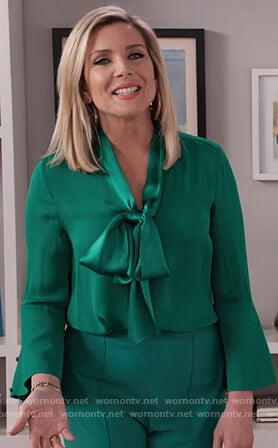 Brianna's green tie neck blouse on Grace and Frankie