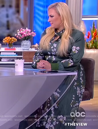 Meghan's green floral keyhole dress on The View