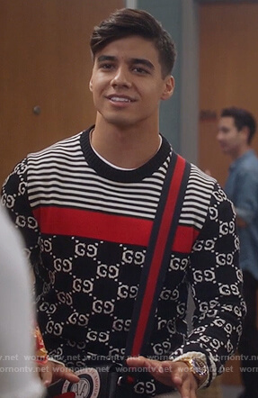 Vivek's Gucci logo striped sweater on Grown-ish