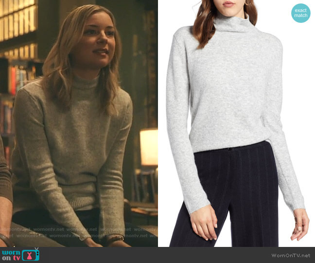 Fuzzy Mock Neck Sweater by Halogen worn by Nicolette Nevin (Emily VanCamp) on The Resident