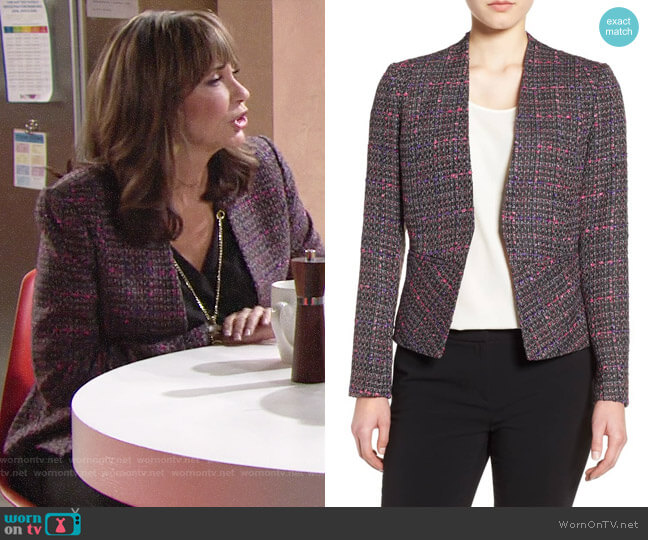 Halogen Structured Tweed Jacket worn by Jill on The Young and the Restless
