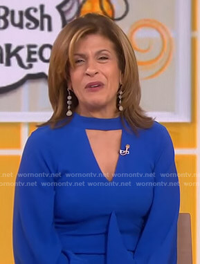 Hoda's blue keyhole ruffle front dress on Today