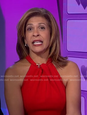 Hoda's red halter neck jumpsuit on Today