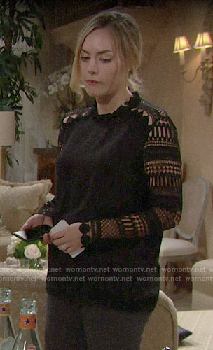 Hope's black lace sleeve top on The Bold and the Beautiful