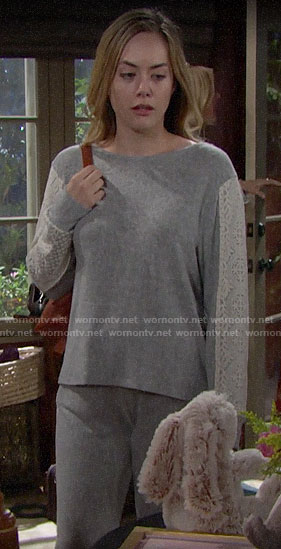 Hope's grey lace stripe pajamas on The Bold and the Beautiful
