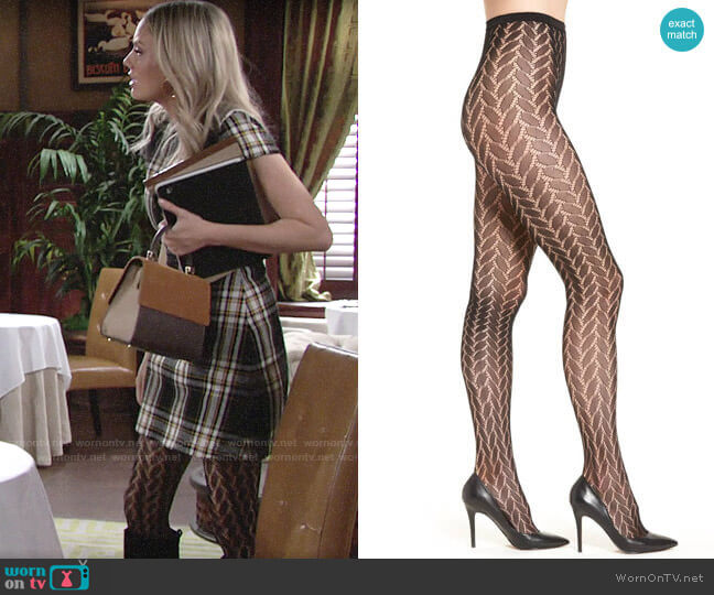 Hue Bold Herringbone Net Tights worn by Abby Newman (Melissa Ordway) on The Young & the Restless