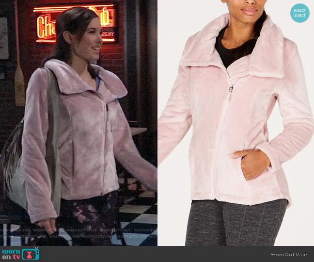 Ideology Asymmetrical-Zip Fleece Jacket worn by Willow Tait (Katelyn MacMullen) on General Hospital