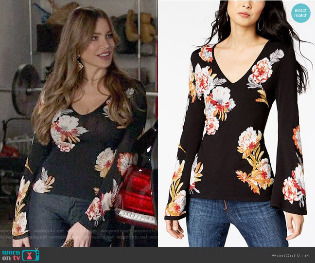 INC International Concepts Floral-Print Bell-Sleeve Sweater worn by  Gloria Pritchett (Sofia Vergara) on Modern Family
