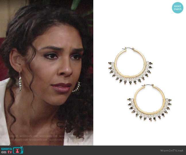 INC International Concepts Gold-Tone Bead & Imitation Pearl Hoop Earrings worn by Kerry Johnson (Alice Hunter) on The Young & the Restless