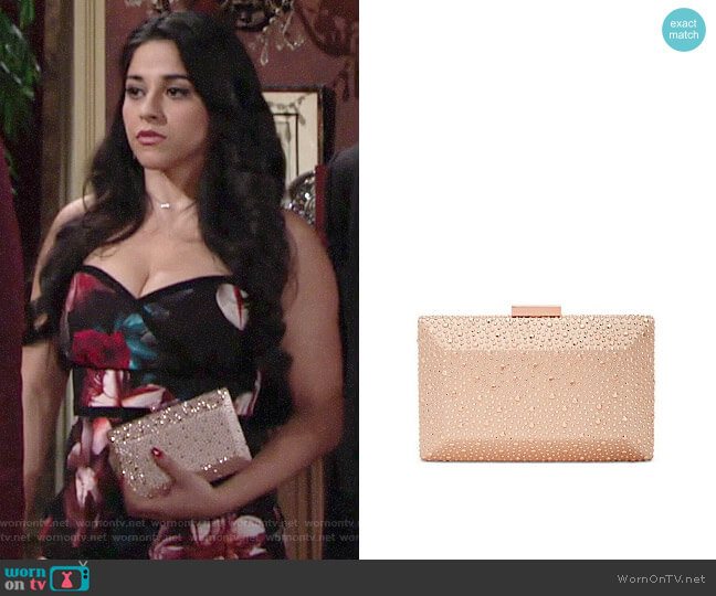 INC International Concepts Jessaca Stone Box Clutch worn by Mia Rosales (Noemi Gonzalez) on The Young & the Restless