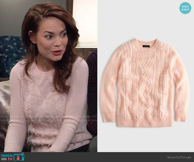 J. Crew Cable crewneck sweater with fringe worn by Elizabeth Webber (Rebecca Herbst) on General Hospital