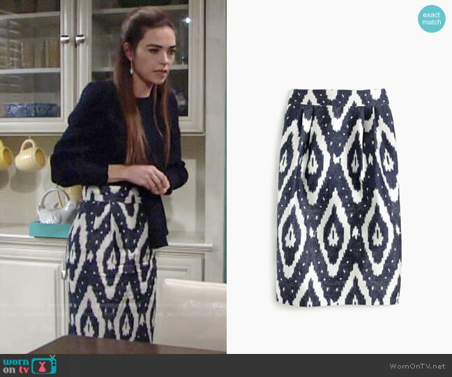 J. Crew Collection Midi Skirt in Ikat worn by Victoria Newman (Amelia Heinle) on The Young & the Restless