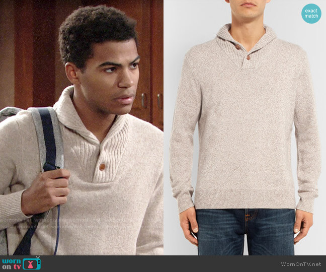 J. Crew Shawl-Collar Mélange Merino Wool-Blend Sweater worn by Charlie Ashby (Noah Alexander Gerry) on The Young & the Restless