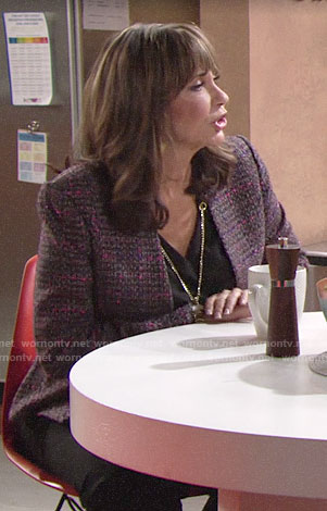 Jill's pink tweed jacket on The Young and the Restless
