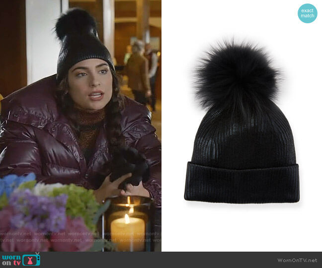 Metallic Fur-Pompom Beanie Hat by Jocelyn worn by Cristal Jennings (Ana Brenda Contreras) on Dynasty