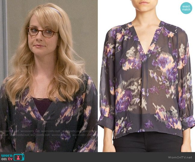 Joie Aceline Blouse worn by Bernadette Rostenkowski (Melissa Rauch) on The Big Bang Theory