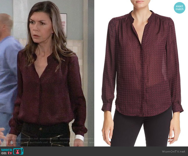 Joie Mintee Blouse worn by Anna Devane (Finola Hughes) on General Hospital