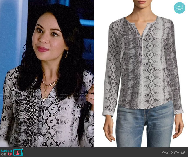 Joie Romona Blouse worn by Mona Vanderwaal (Janel Parrish) on PLL The Perfectionists