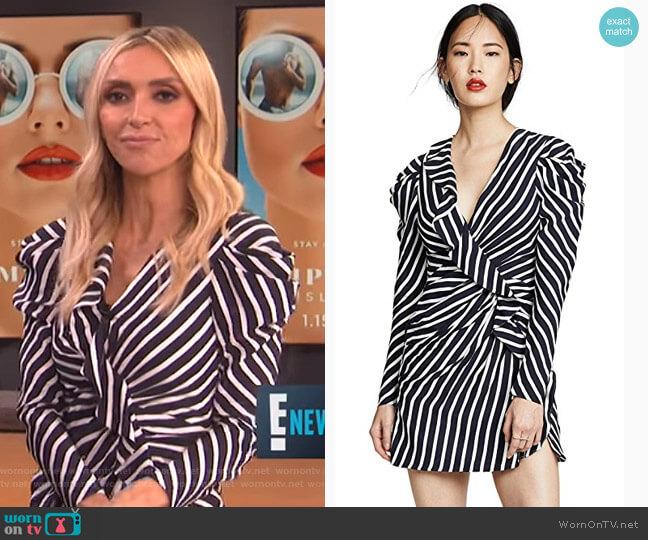 Stripe Ruffle Slit Dress by Jonathan Simkhai worn by Giuliana Rancic  on E! News