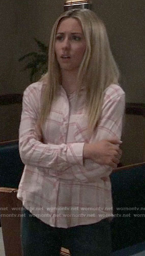 Josslyn's pink plaid shirt on General Hospital