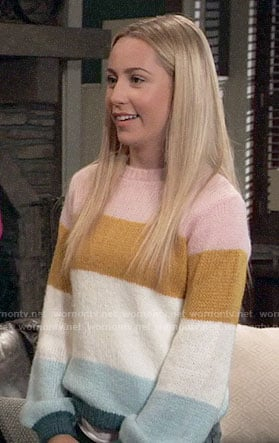Josslyn's multi-colored striped sweater on General Hospital
