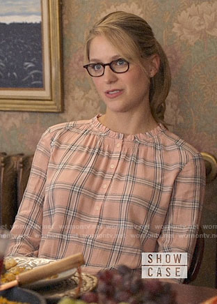 Kara's peach plaid top on Supergirl