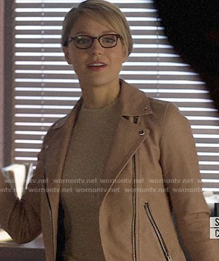 Kara's blush pink leather moto jacket on Supergirl