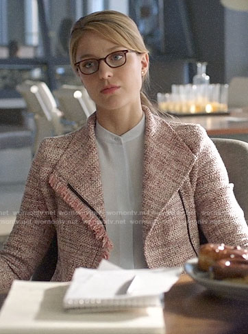 Kara's pink frayed tweed jacket on Supergirl