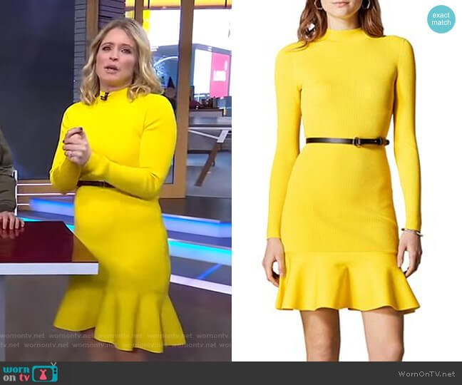 Belted Rib-Knit Dress by Karen Millen worn by Sara Haines  on Good Morning America