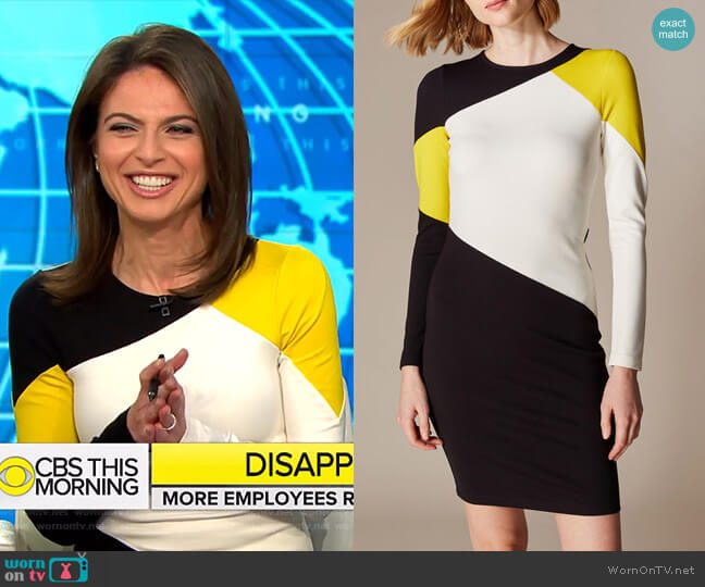 Colourblock Panelled Dress by Karen Millen worn by Bianna Golodryga  on CBS This Morning