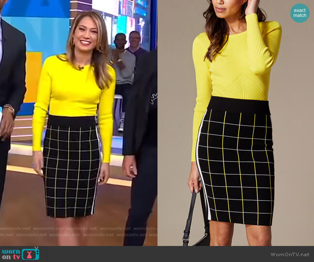 Ribbed Fitted Top and Checked Pencil Skirt by Karen Millen worn by Ginger Zee  on Good Morning America