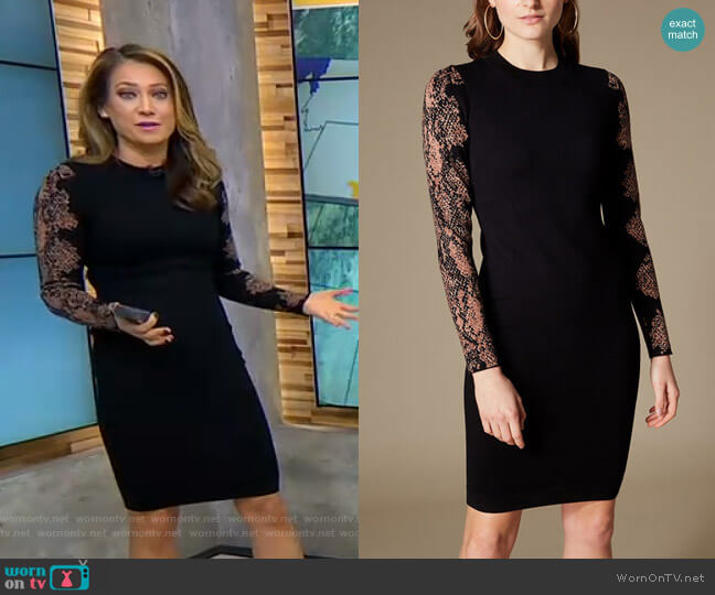 Snakeskin-Print Sleeve Dress by Karen Millen worn by Ginger Zee  on Good Morning America