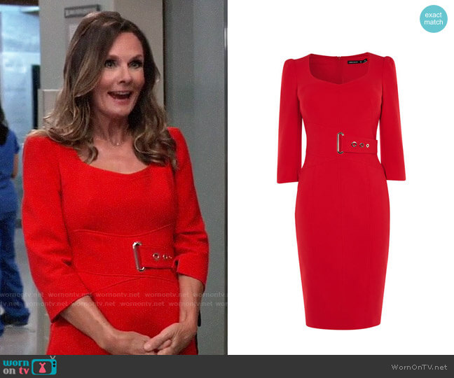 Karen Millen Corsetry Waist Pencil Dress worn by Lucy Coe (Lynn Herring) on General Hospital