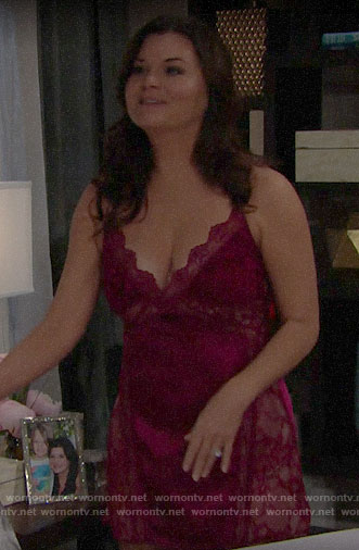 Katie's red lace panel chemise on The Bold and the Beautiful