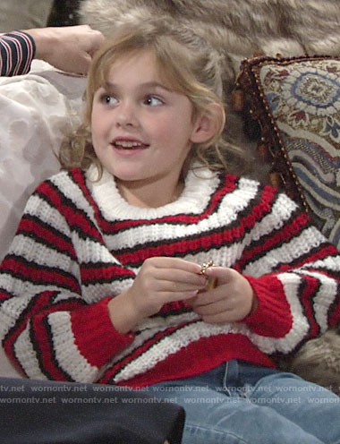 Katie's red striped sweater on The Young and the Restless