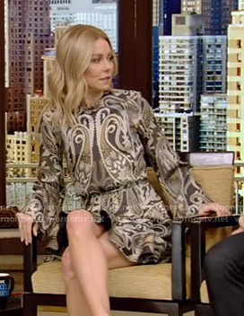 Kelly's paisley mini dress on Live with Kelly and Ryan