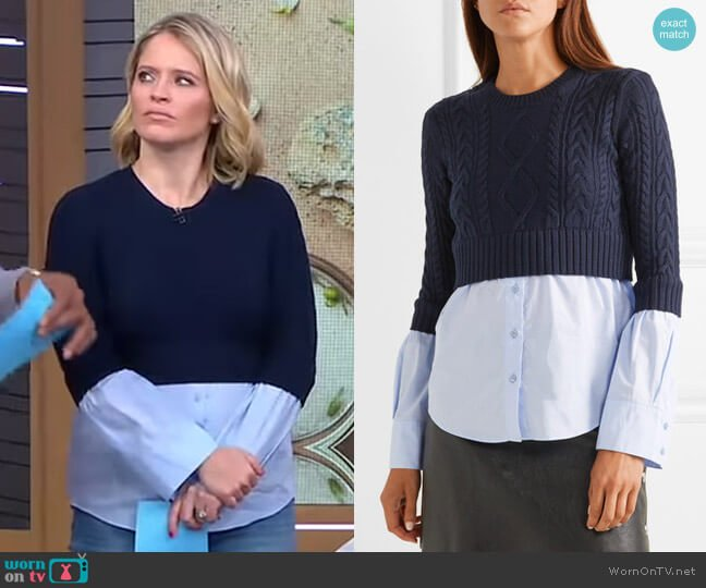 Layered Cable-Knit Sweater by Kenzo worn by Sara Haines  on Good Morning America