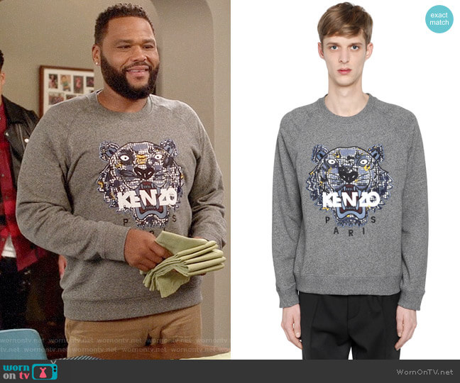 Kenzo Tiger Embroidered Cotton Sweatshirt worn by Andre Johnson (Anthony Anderson) on Blackish