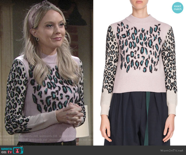 Kenzo Leopard-Print Wool Pullover Sweater worn by Abby Newman (Melissa Ordway) on The Young & the Restless