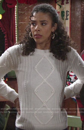 Kerry's pearl embellished cable knit sweater on The Young and the Restless